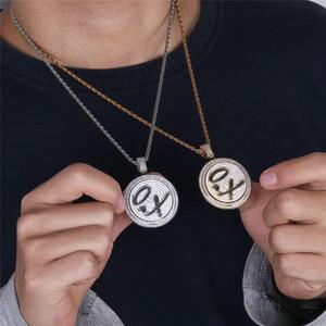 2018 New Unisex collana rotonda Ruota rep XO forma hip hop gioielli Intarsiato Zircone Hipster personalità Ciondolo Collana squisita all'ingrosso