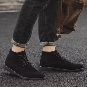 Men High Top Soft Oxfords Male Ankle Snow Boots Winter   Autumn men's Motorcycle Boots men dress business work safety Oxfords