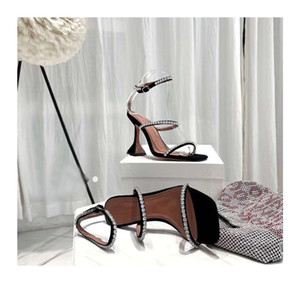 Perfect Official Quality Amina Shoes Genuine Leather Muaddi Heeled Sandal Wom bellished Suede San