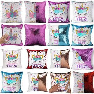 Reversible Unicorn Sequin Pillow Case animal Mermaid Pillow Cover Throw Cushion Case Decorative Home Office Sofa Square Pillowcase dropship