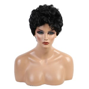 Fashion Curly Wig For White Women Pixie Cut Black Daily Full Wigs W  Wig Cap