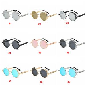 Металл Круглый Steampunk Солнцезащитные очки Мужчины Женщины Мода очки ретро кадр Урожай UV400 Солнцезащитные очки на открытом воздухе очки LJJA3782