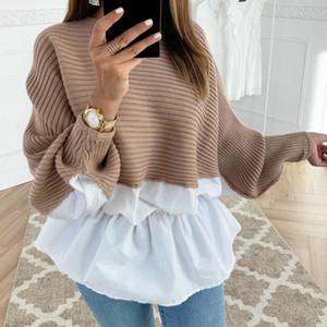 Winter Fashion increspato maglia jumper Maglioni Patchwork allentato la camicia casuale Streetwear Femminile Womens Long Sleeve Blusas Pullover