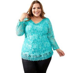 إمرأة مصمم التي شيرت المرأة مصمم الملابس النسائية بالاضافة الى حجم الكبير ساحات القمم فام الرباط الزهور T قميص المرأة مطاطا المحملة 7XL H009