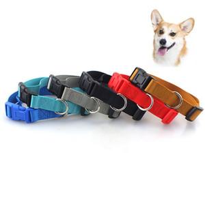 Collier en nylon pour chien Pet chat chiot Collier de haute qualité couleur uni polyester Col Fournitures Imitation Nylon Collier pour chien