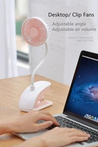 Summer Cooling Creative mini usb fan Plastic Charging Portable Desktop Hands-free with LED table lamp,long swing arm and clamp base long