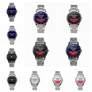 Trump 2020 Quartz Watch Silvery Stainless Steel Watchband Donald Trump Women Men Retro Wrist Watches Clock Party Favor LJJA4142