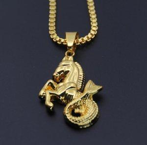 collares colgantes de hip hop hipocampo para hombres mujeres hombre colgantes de oro plata regalo de la joyería collar de cadena