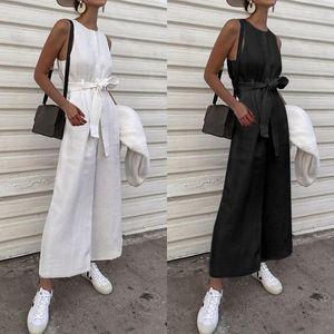 Kadın Tulumlar Tulum Kadınlar Uzun 2021 Vintage Keten Kolsuz Celmia Katı O-Boyun Düğmeler Geniş Bacaklı Playsuits Casual Gevşek Tulum