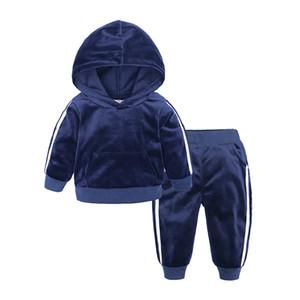 Para Baby Velvet Piece 2 1-7y Kids Boys Girls Ropa 2020 Set de niños pequeños Conjunto para niños Trajes de vestuario Con capucha + Pantalones Tacksuit EXLSX