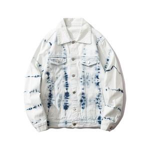 Homens de Moda de Tie Dye White Denim Jacket Homens Mulheres 2020 New Street Jeans Jacket Hip Hop Jackets