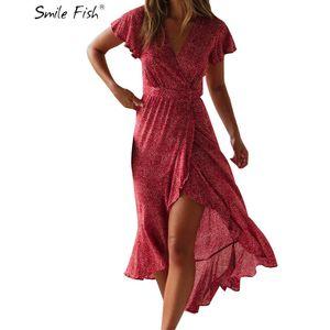 Pantaloncini femminili Elegante 2019 Estate Moda sexy Nuovo abito per affilare i punti Abito asimmetrico Bohemian Middle Wade V -cut M0128 Y19071101