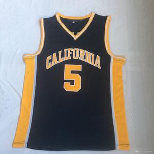 Azul para hombre de California Golden Bears Jason Kidd Jersey de la universidad de baloncesto Marina de la vendimia # 5 Jason Kidd camisas Universidad cosido jerseys S-XXXL