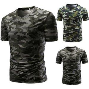 les questions militaires de camouflage T-shirt imprimé à manches courtes Vneck ligne moulants chemise coupe cintrée vent militaire
