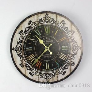 htgar Hot Wholesale-Hot Sale Silent Retro Wooden Decorative Round Wall Clock Antique Vintage Rustic Wall Clocks Hight Quality Wholesale