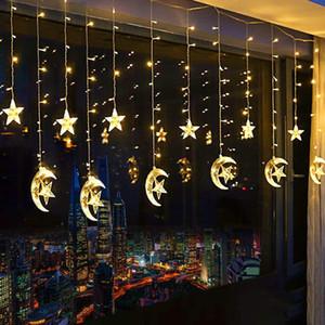 138 LED Estrela cortina luzes, 110V 220V Cortina corda leve Moon Star Luzes Cordas for Wedding Party Início Jardim Quarto Exterior