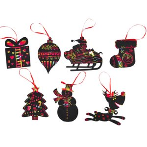 7Pcs / SetChristmas Raspadinha Rainbow Scratch Papel Art Xmas Tree Hanging Ornaments