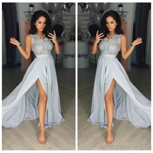 2020 Sexy Silver Long Evening Dresses Lace Appliques V Neck Sleeves Side Split A Line Chiffon Prom Party Gowns Cheap