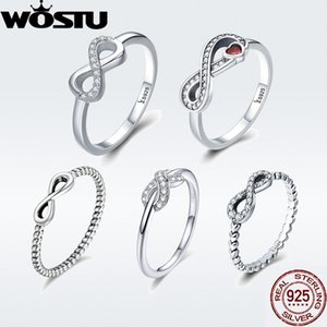 WOSTU Hot Sale 100% 925 Sterling Silver Infinity Ring for Women Girl S925 Finger Rings Silver Jewelry Wedding Gift DXR332