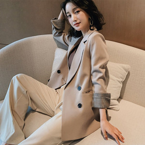 Women Blazer Autumn Casual double botton Women Blazer Pockets Jackets Female Retro Suits Coat Feminino blazers