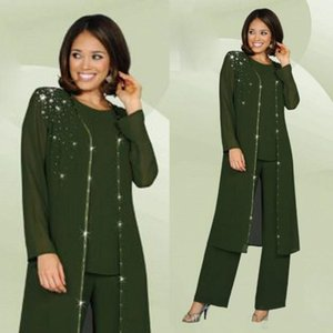 Glamorous Three-Piece Chiffon Mother of the Bride Pant Suits with Long Jacket Crystals Crew Neck Long Sleeve Evening Groom Mother Dress