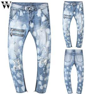 Womail pant Men Stretchy Ripped Skinny Jeans Pure Color Slim Fit Denim Vintage Denim Pants Zipper High Quality Jean 2019 J72