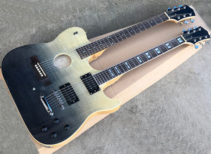 Gradient 6+6 strings double neck electric guitar with semi-finished body,Humbuckers pickups,flame maple veneer