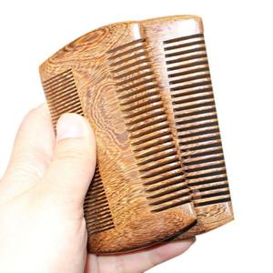Sándalo verde Pocket peina el pelo de la barba 2 Tamaños natural hecho a mano de madera peine