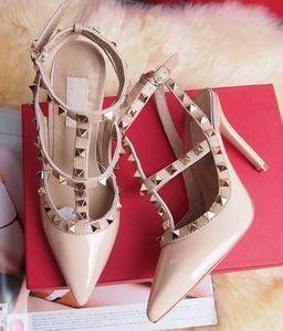 Горячая распродажа-размер 2018 дизайнер 8 см 10 см Гладиатор высокие каблуки Женская обувь Обнаженные черные шипы Т-образный ремень насос лакированная кожа шпильки Женская обувь лето