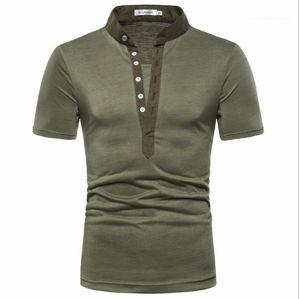 Fashion Slim V Neck Tees Short Sleeve Solid Color Male Clothing Mens 2020 Luxury Designer Tshirt Summer