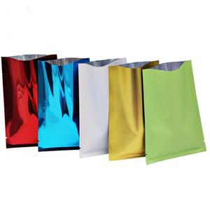 Mulit Farbe Mylar Aluminiumfolie Tasche Heat Seal offene Säcke oben Verpackungsbeutel Blume Tee Probenbeutel Großhandel