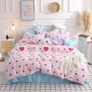 Conjuntos de ropa de cama Yimeis rosa Consolador Sistemas del lecho de la reina de impresión Sábanas Conjunto BE45121
