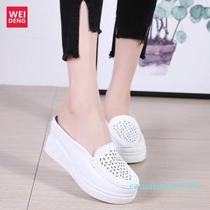 Weideng Kalın Alt Casual Gerçek Deri Yürüme Platformu Ayakkabı 8 Cm Kadınlar Sandalet takozları Nefes Kaymaz Yaz C15 arttırın