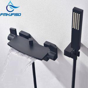 순수 블랙 숨어서 욕실 샤워 수도꼭지 폭포 욕조 샤워 수전 벽 믹서 욕조 탭을 장착