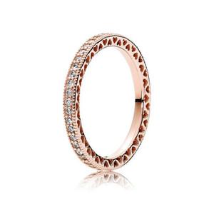 여성을위한 로고 및 원래 상자에 맞추기 판도라 스타일의 결혼 반지 약혼 쥬얼리 8031-1 진짜 925 스털링 실버 CZ 다이아몬드 반지