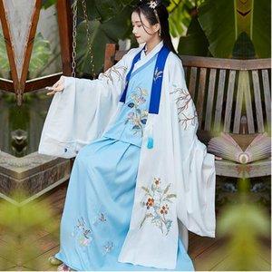 Bleu Hanfu femmes Vêtements de danse classique broderie robe de fée costume antique scène du film TV Les vêtements de performance
