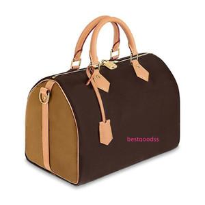 2020 New original high quality oxidize cowhide speedy 25cm 30cm classic flower luxury designer handbag women bags lady totes pillow bag