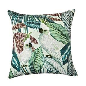 DUNXDECO подушка чехол Декоративная наволочка художественный современный тропический попугай темно-зеленый Coussin кровать диван кресло чехлы
