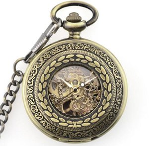 10pcs lot New Arrival Mechanical Pendant Rice Pocket Watch Retro Skeleton Roman Dial Steampunk Open Face Gift Pocket Watch