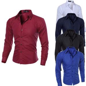 Мужские платья рубашки мужские тонкие подходят повседневному с длинным рукавом бизнес формальные топы мужская весна осенняя одежда