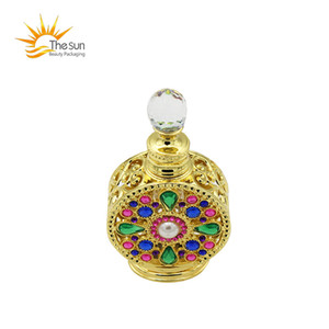 Frasco de óleo árabe 12ml frasco de perfume de vidro antigo garrafa de óleo essencial vazio recipiente cosmético com strass decorado