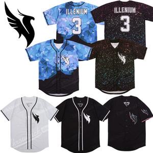 Personalizado Illenium Jersey Cantor 3 # Masculina versão Branco preto costurado Moda Edição Diamante Baseball Jerseys envio gratuito