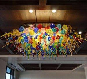 Modern Round Pleacing Light Banquet Hall of the Home Office Personalizzato Ingegneria Lampadari in cristallo colorato in vetro colorato Lampadario di vetro illuminazione