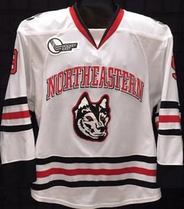 Northeastern University Huskies Dylan Sikura # 9 bianco Hockey su ghiaccio Jersey uomo cucito su misura Numero Nome maglie