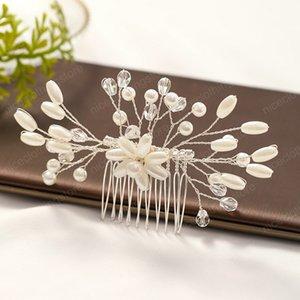 Düğün Saç başlıkiçi Gelin Saç Combs Kadınlar Venedikli İnci Çiçek Şekli Kafa Gümüş Renk Tokalar Saç Aksesuarları