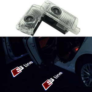 Fácil facilitar a porta do carro LED Logo Projetor Ghost Shadow Lights para Audi 2-PC Set com cabo adaptador para Audi A3 A4 B6