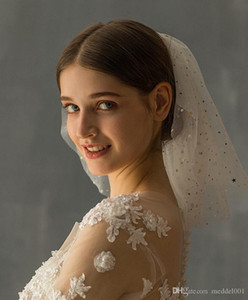 2019 Yeni varış Moda Kısa Gelin Veil Gelinlik Veil Şapkalar Moda Headdress Düğün Headdress katlayın