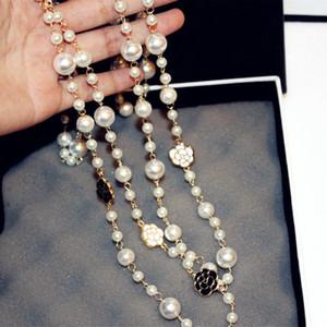 Модный дизайнер роскошный классический стиль элегантный цветок камелии жемчужная цепь длинный двухслойный свитер заявление ожерелье для женщины
