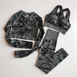 3PCS Camo Seamless Yoga Set Sportbekleidung Frauen Fitness Kleidung Yoga Leggings + Sport-BH + Long Sleeve Crop Top Gym Sportanzüge T200326