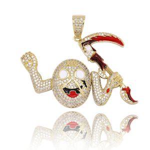 Hip Hop Glacé CZ Little Devil Collier avec pendentif en or plaqué argent Hommes Bijoux Bling Cadeau